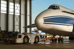 Maintenance-rolling into the hangar of the world`s largest Ruslan aircraft Russia Royalty Free Stock Photography