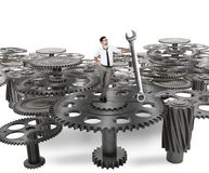 Maintenance of a system of gears Royalty Free Stock Photo