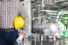 Maintenance technician inside thermal power plant factory Stock Image