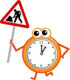 Maintenance time. Mr clock man holding a road sign warning of work in progress Stock Photography