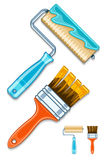 Maintenance tools brushes and rollers for paint works Royalty Free Stock Photography