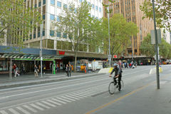 Maintenance work being undertaken near the Westpac Bank branch on the corner of Swanston and Collins Streets Stock Images