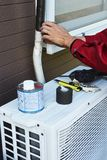 Cleaning work of air conditioner royalty free stock images