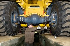 Maintenance work of heavy loader Royalty Free Stock Image