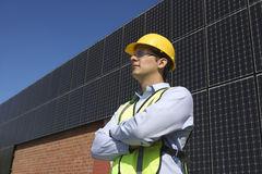 Maintenance Worker Near Solar Panels Royalty Free Stock Image