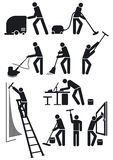 Maintenance workers in black. Pictogram of maintenance workers cleaning Stock Image