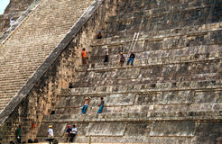 Maintenance workers in Chichen Itza Pyramid Royalty Free Stock Image