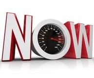 Maintenant indicateur de vitesse emballant pour battre la date-limite pressante Photo stock