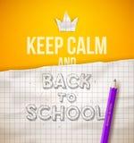 Maintenez calme et de nouveau à l'école Photos stock