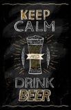 Maintenez citation calme et de boissons de bière de tableau illustration de vecteur