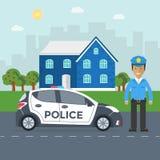 Maintenez l'ordre la patrouille sur une route avec la voiture de police, dirigeant, maison Photographie stock libre de droits