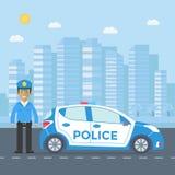 Maintenez l'ordre la patrouille sur une route avec la voiture de police, dirigeant, maison Photo stock