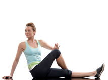 Maintien de séance d'entraînement d'abdominals de formation de femme photographie stock