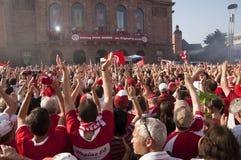 Mainz 05 bewegingen van seconde aan eerste Bundesleague royalty-vrije stock foto