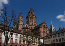 Mainz Cathedral. Is one of the great German medieval churches in towns along the river Rhine Royalty Free Stock Photo
