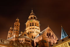 Mainz Cathedral (Mainzer Dom) on a Winter's Night Stock Photo