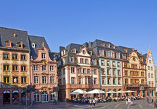 Mainz City Center. Mainz, Germany, September 25, 2011: Historic city center with people enjoying sunshine, coffee, and shopping Royalty Free Stock Photos