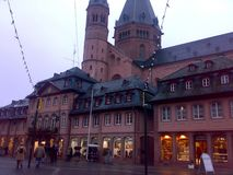 MAINZ, GERMANY - DECEMBER 27, 2007: Architecture and people on the streets city. MAINZ, GERMANY - DECEMBER 27, 2007: Architecture and people on the streets stock images