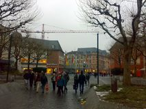 MAINZ, GERMANY - DECEMBER 27, 2007: Architecture and people on the streets city. MAINZ, GERMANY - DECEMBER 27, 2007: Architecture and people on the streets royalty free stock photo