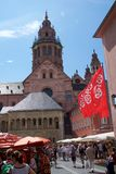 MAINZ, GERMANY - JUL 08th, 2017: Market place with landmark, historic buildings like the dom and people.  Stock Photo