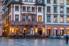 Mainz, Germany - November 14, 2017: The market square in the old. Town of Mainz, Germany at sunset Royalty Free Stock Image