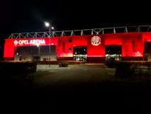Mainz 05 Stadion at night. Opel Arena lights red Stock Photos