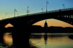 Mainz Sunset. Sunset on the Theodor Heuss Bridge Mainz Stock Photography