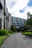 MAINZ TYSKLAND - JULI 09., 2017: Ingång eller körbana till den lyxiga Hilton Hotel bredvid flodRhentysken Rhein Arkivfoto