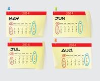 maio a August Calendar 2014 Fotografia de Stock Royalty Free