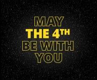 maio o 4o seja com você o fundo do feriado - letras amarelas em s ilustração do vetor