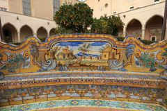 Maiolica art pictures in Santa Chiara Naples Courtyard royalty free stock images
