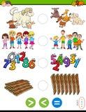 Maior menos ou jogo educacional igual do enigma ilustração royalty free