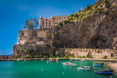 Maiori, Amalfi Coast, Italy. Fishing harbor, The town of Maiori Royalty Free Stock Photo