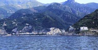 Maiori. A glimpse of the Amalfi Coast seen from the sea Royalty Free Stock Image