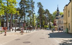 Turaidas Street in the center of Maiori, near shores of the Baltic Sea in Jurmala, Latvia Stock Images