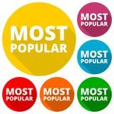 A maioria de ícones populares ajustados com sombra longa Foto de Stock Royalty Free