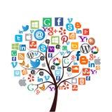 A maioria de ícones sociais populares dos meios/Web Foto de Stock Royalty Free