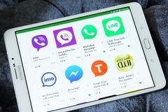 A maioria de aplicações famosas do mensageiro no jogo de Google Imagens de Stock