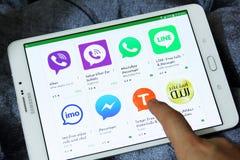 A maioria de aplicações famosas do mensageiro no jogo de Google Imagem de Stock Royalty Free