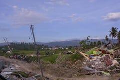 A maioria de liquefação severa Petobo Sulawesi central do terremoto de dano fotografia de stock royalty free