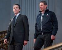 Maire Gavin Newsom et Larry Ellison à l'hôtel de ville Image libre de droits