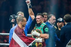 Mairis Briedis and Oleksandr Usyk after fight. royalty free stock photos