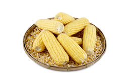 Mais auf einem Korb Stockfotografie