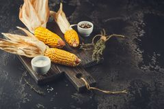 Mais auf Pfeilern lizenzfreies stockbild