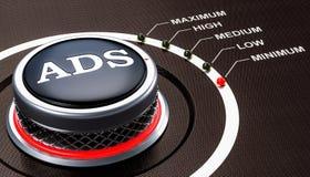 Mais de baixo nível do conceito do ADS, botão rendição 3d ilustração royalty free