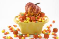 Mais e zucca di caramella di Halloween Fotografie Stock