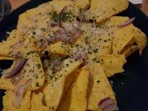 Mais Nachos mit Ziegenkäse und -zwiebeln lizenzfreie stockbilder