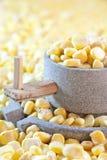 Mais und Mühlstein stockfoto