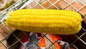 Maisgrill auf dem Feuer Lizenzfreies Stockfoto