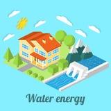 Maison à énergie réduite avec la centrale hydraulique pour le web design Images libres de droits